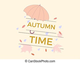 Autumn time. Banner with umbrella and leaves.Design a template for invitations, leaflets and greeting cards. Vector illustration