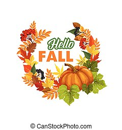 Autumn Time Hello Fall vector greeting poster