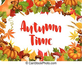 Autumn time poster for fall nature season template