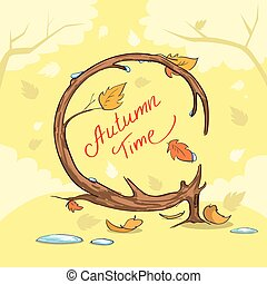 Autumn Time Yellow Tree Fall Banner Concept