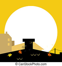 Autumn town black wilhouette with Sunset - vector background