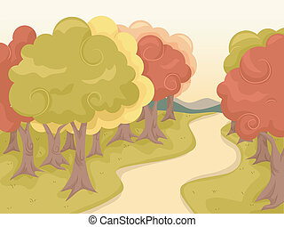 Autumn Trail - Illustration Featuring a Trail Lined Up with...