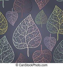 Autumn transparent leaves pattern background