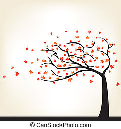Autumn Tree - abstract autumn tree on a white background