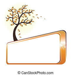Autumn tree and banner