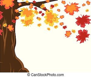 Autumn tree and falling foliage on white background