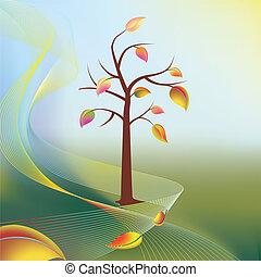 autumn tree and leaf on wind