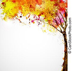 autumn tree - autumn abstract tree forming by blots
