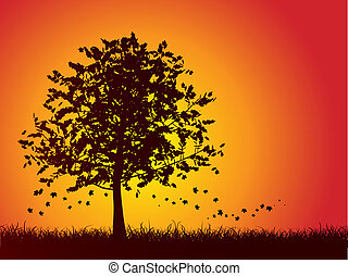 Autumn tree background - Silhouette of an autumn tree with...