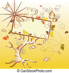 autumn tree billboard with design elements and copy space