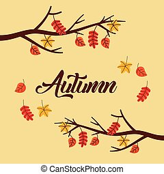 autumn tree branch leaves poster foliage with text