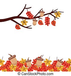 autumn tree branch leaves season floral design border frame orange yellow
