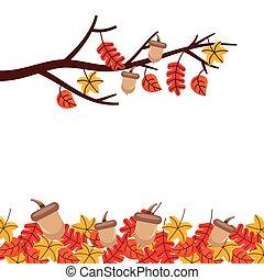 autumn tree branch leaves season floral design border frame orange yellow