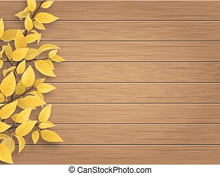 autumn tree branch on weathered wooden background