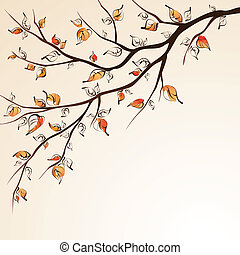 Stylized autumn tree branche on bright background