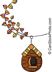 Autumn tree branch with wooden cage
