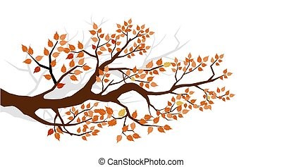 Autumn. Tree branch with yellow leaves