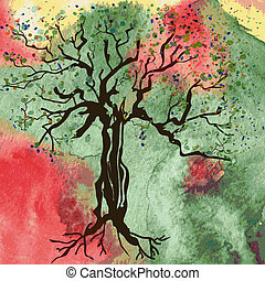 Autumn tree card with watercolor abstract background