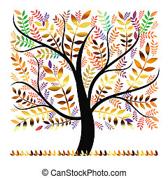 Autumn tree - Colorful autumn tree isolated on white...