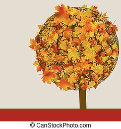 Autumn Tree | Concept card template. EPS 8