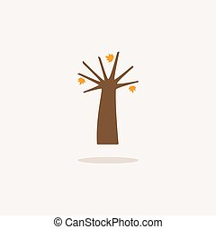 Autumn tree. Icon with shadow on a beige background. Season vector illustration