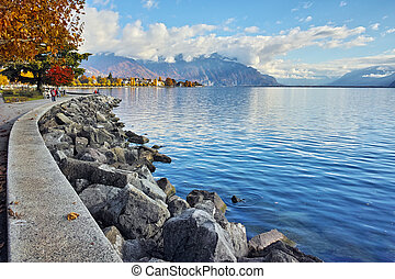 autumn tree in embankment of town of Vevey and Lake Geneva,...