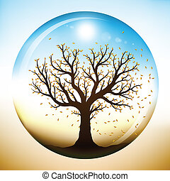 Autumn tree inside glass globe - Autumn tree with falling...