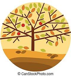 autumn tree isolated on yellow background - autumn tree on...