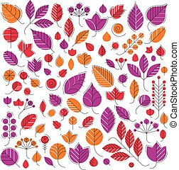 Autumn tree leaves, botany and eco flat images. Vector...
