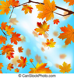 Autumn tree maple leaves against the blue EPS 8