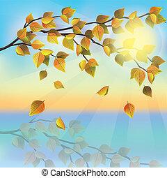 Autumn tree on background of sunset