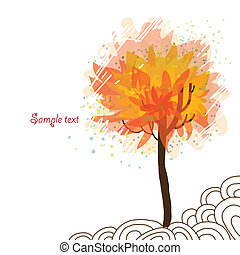 Autumn tree on white background