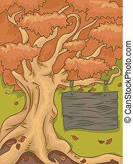 Autumn Tree Signboard