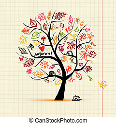Autumn tree, sketch drawing for your design