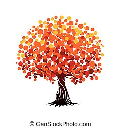 Autumn Tree. Vector Illustration.
