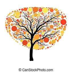 Autumn tree vector isolated on white background