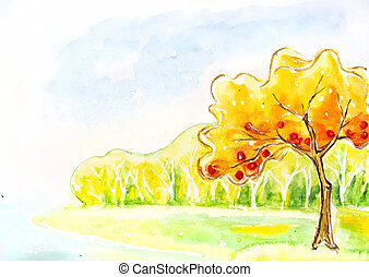 Autumn tree. Watercolor painting.