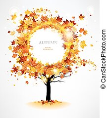 Autumn tree with beautiful flying leaves