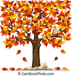 Autumn tree with bird isolated on white background