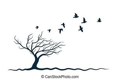 Autumn tree with birds.