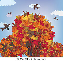 Autumn tree with birds landscape