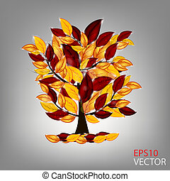 autumn tree with colorful leaves. Vector illustration.