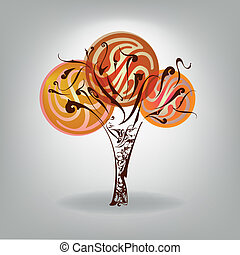 Autumn tree with falling down leaves. Vector illustration. Autum