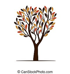 Autumn Tree with Leaves. Vector Illustration.