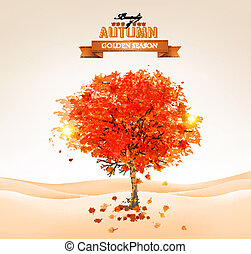 Autumn tree with orange leaves. Vector.