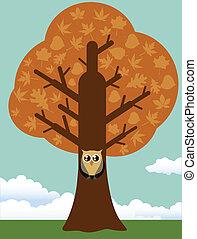 Autumn tree with owl