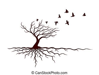Autumn tree with roots and birds.