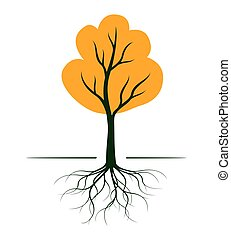 Autumn Tree with Roots. Vector outline Illustration. Plant in Garden.