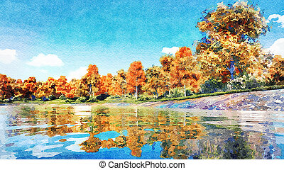 Autumn trees and calm lake watercolor landscape