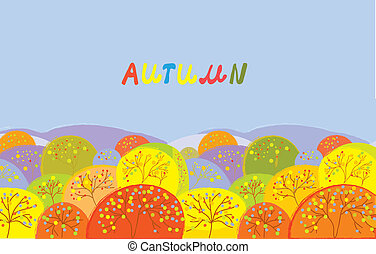 Autumn trees banner with text